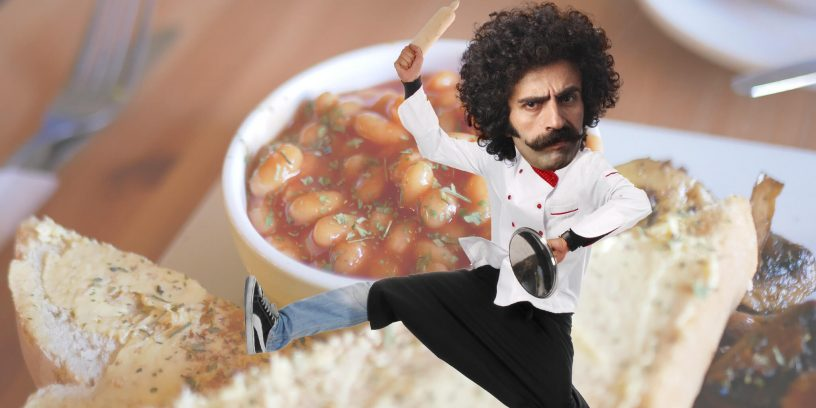 cook in front of beans background